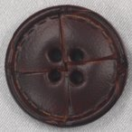 本革ボタン (茶) 25mm 1個入 (表・四つ穴)  天然素材 (レザーボタン) NO2000-3 (ジャケット・コート向) ボタン 手芸 通販