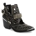 ジェフリー キャンベル ブーツ&レインブーツ シューズ レディース Jeffrey Campbell Wylie Studded Western Bootie (Women) Black/ Silver Leather