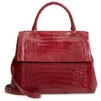�ʥ󥷡����󥶥쥹 ���åȥ��� �ȥåץ� ��ǥ����� Nancy Gonzalez Medium Sophie Genuine Crocodile Top Handle Bag Red Shiny