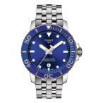 ティソット ブレスレット・バングル・アンクレット アクセサリー メンズ Seastar 1000 Powermatic 80 Bracelet Watch, 43mm Silver/ Blue/ Silver