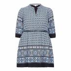 ユミカーブス ワンピース レディース Yumi Curves Tile Print Tunic Belt Dress Navy 送料無料
