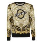 ヴェルサーチ ニット、セーター メンズ アウター Versace Floral Logo Print Sweater white