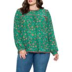 フライングトマト レディース シャツ トップス Floral Printed Long Sleeve Blouse GREEN