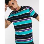 リバーアイランド メンズ Tシャツ トップス River Island slim fit t-shirt with horizontal stripes in green Green
