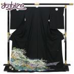 ◆本加賀友禅◆ 伝統工芸品 黒留袖 長谷川里絵作 「鶴舞」 hm1916