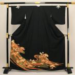 【お仕立て上がり】 正絹胴裏 黒留袖 「松竹梅と鶴」 pt2291 M寸