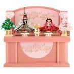 雛人形 リカちゃん 久月 ひな人形 コンパクト収納飾り 親王飾り ピンク シリアルナンバー付 h023-ri-2756