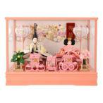 雛人形 コンパクト ひな人形 ケース飾り 親王飾り 御雛 芥子 木製道具 ピンク オルゴール付 h283-ts-a9-p