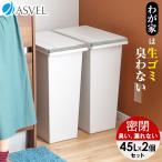 ゴミ箱 キッチン 臭わない 密閉 プッシュ スリム 45リットル 2個 セット アスベル エバン ASVEL EBAN 分別 おしゃれ 45l 45L 大容量 蓋付き 資源ゴミ ごみ箱