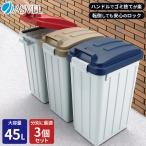 ゴミ箱 屋外 分別 ハンドルペール 45リットル 3個セット アスベル ASVEL おしゃれ 大型 大容量 45l 45L 蓋付き カラス対策 ベランダ 資源ゴミ ごみ箱
