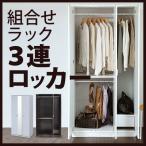 組み合わせハンガーラック 3連ロッカータイプ 壁面収納 衣類収納 洋服 クローゼット  ミラー付き  エムール