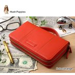 クラッチバッグ セカンドバッグ 長財布 ダブルラウンドファスナー 鞄 ポーチ メンズ レディース ブランド アウトレット 牛革 本革 ハッシュパピー HP2184 橙