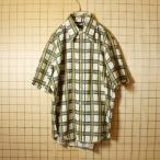 古着 70s USA製 半袖 総柄 チェック シャツ グリーン 生成り メンズL h.i.s アメリカ古着