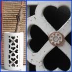傘立て おしゃれインテリア ハートマーク陶器 信楽焼かさたて 和風モダン 四葉のクローバー透かし彫り