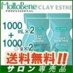 モルトベーネ クレイエステ シャンプー EX 1000ml × 2本 + パックEX 1000g × 2本 詰め替え セット レビュー記入でおまけ付き