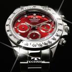 テクノス 腕時計 メンズ TECHNOS 限定モデル クロノグラフ ジルコニア・リミテッド T4102SR レッド