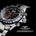 テクノス 腕時計 メンズ TECHNOS 限定モデル  クロノグラフ ブラックジルコニア・リミテッド メンズ T4102TB