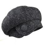 ショッピンググレー レディース帽子 ウール100%ボタンストライプベレー