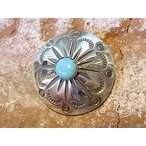 コンチョ ボタン シルバー ターコイズ トルコ石 sv950 レザーアイテム ネジ ドットボタン 丸カン ループ 経年変化 ネイティブデザイン 034