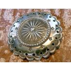 コンチョ ボタン シルバー sv950 ネイティブ インディアン ビッグサイズ45ミリ レザーアイテム 髪留め ネジ ドットボタン 丸カン ループ 経年変化 045