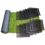 人工芝 芝生 ベランダ ターフ キット 芝丈30mm (幅60cm × 長さ180cm) 人工芝1枚+床パネル12枚セット