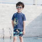 キッズ 子供用 男の子 水着 半袖 ラッシュガード ハーフパンツ キャップ付き 3点セット 上下セット 男の子 耐久性 保温性 UVカット 日焼け防止