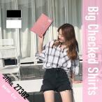 モノトーンチェック ビッグシャツ レディース 半袖シャツ 韓国ファッション ベルシー 夏服