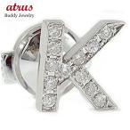 メンズ ピンブローチ ラペルピン ダイヤモンド イニシャル K ホワイトゴールドK18 タイタック タイピン タックピン ダイヤ 18金 スタッドボタン 送料無料