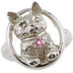 ピンキーリング 猫 プラチナ リング ピンクサファイア 指輪 9月誕生石 ストレート 宝石