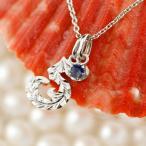 ハワイアンジュエリー メンズ 数字 5 サファイア ネックレス トップ ペンダント ホワイトゴールドk10 ナンバー チェーン 人気 9月誕生石 10金 シンプル 青い宝石
