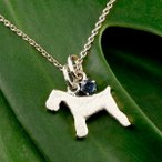 メンズ 犬 ネックレス トップ ブルーサファイア ペンダント シュナウザー テリア系 ホワイトゴールドk10 10金 いぬ イヌ 犬モチーフ 9月誕生石 チェーン 人気