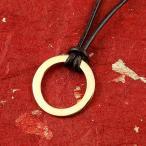 24金ネックレス トップ メンズ 純金 ゴールド リング 24K ペンダント ネックレス トップ  k24 輪っか 革ひも キーリング アクセ シンプル 送料無料
