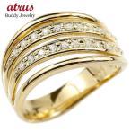 メンズ リング イエローゴールドk10 ダイヤモンド 幅広 指輪 リング ダイヤ 10金 ピンキーリング 男性用 送料無料