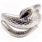 メンズ アメジストリング スネーク シルバー 蛇 指輪 2月誕生石 男性用 宝石