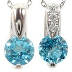 ペア ネックレス トップ ブルートパーズ ダイヤモンド ダイヤ カラーストーン ホワイトゴールドK18 チェーン 人気 18金 カップル 男性用 18k 青い宝石