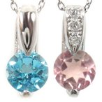 ペアネックレス ペアペンダント ピンクトルマリン ブルートパーズ ダイヤモンド ホワイトゴールドk18 チェーン 人気 18金 ダイヤ カップル 青い宝石 送料無料
