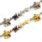 ハワイアンジュエリー ペアブレスレット ダイヤモンド ゴールド ネーム ダイヤ プルメリア プラチナ イエローゴールドk18 ブレスレット 18金 送料無料