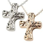 ハワイアンジュエリー メンズ ペアネックレス ペアペンダント クロス ネックレス ホワイトゴールドk10 ピンクゴールドk10 ペンダント 十字架 地金 10金