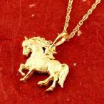 24金ネックレス メンズ 純金 ゴールド 24K 馬 ホース ペンダント トップ ゴールド k24 シンプル 送料無料 人気