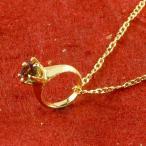 純金 ベビーリング ガーネット 一粒 ペンダント 誕生石 出産祝い ネックレス レディース 1月誕生石 24金 ゴールド k24 立爪 人気 送料無料