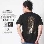 Tシャツ メンズ 半袖 アメカジ ワーク ストリート マリア 黒 白 大きいサイズ M L XL XXL 2L 3L プリント ロゴ カットソー ブランド BLACKTON ブラクトン
