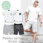 ハーフパンツ ショートパンツ メンズ ペイズリー Tシャツ 半袖 上下セット セットアップ 涼しい リアルコンテンツ REALCONTENTS ストリート系