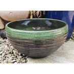 睡蓮鉢 MKS-GR-S 緑色 11号 小型 ビオトープ創りに 陶器製 水生植物 姫睡蓮やホテイ草に スイレン鉢 メダカ鉢 めだか鉢 96587