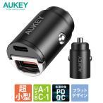シガーソケット USB 充電器 AUKEY オーキー Nano Series 30W ブラック CC-A3-BK スマホ iPhone Android カーチャージャー 充電 2ポート 2年保証
