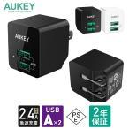 【2個以上の購入で20%OFFクーポン配布中】USB 充電器 2ポート 小型 USB-A iPhone Android対応 AUKEY オーキー Minima Duo PA-U32