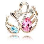 """ブローチ スワロフスキー スワンブルー&ピンク Ocean Blue +  Pink 18K Rose Gold Plated Made With Swarovski Crystal """"In Love Double Swan"""" Brooch"""