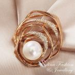 ブローチ スワロフスキー クロスオーバーパール Gold + White 18K Rose Gold Plated Made With Swarovski Created Pearl Luxury Crossover Brooch