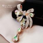 ブローチ スワロフスキー リボンルミナスグリーン Luminous Green 18K Rose Gold GF Made With Swarovski Crystal Stunning Bow-knot Teardrop Brooch