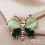 ブローチ スワロフスキー バタフライエメラルドグリーン Emerald 18K Rose Gold Plated Made With Swarovski Crystal & Opal Butterfly Emerald Brooch