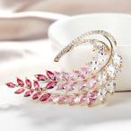 ブローチ スワロフスキー リーフピンク Gold+Red+Pink Thick 18K Gold Filled Made With SWAROVSKI CZ Marquise-Cut Beautiful Leaf Brooch